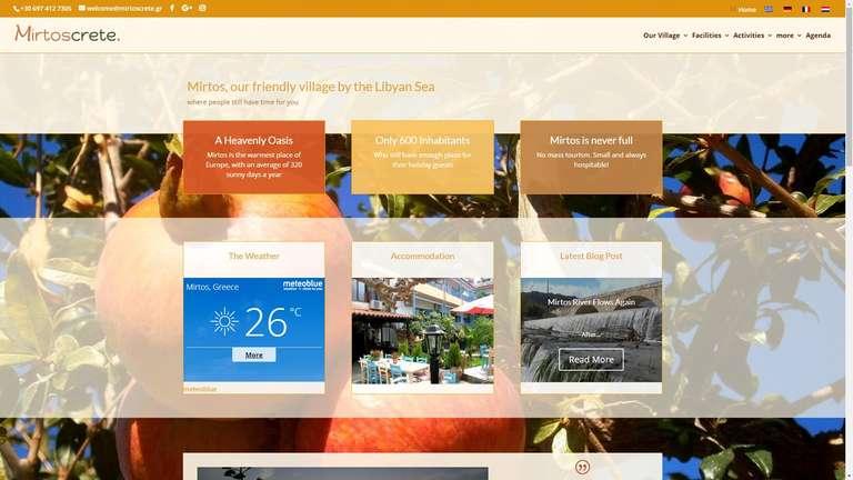 screenshot Mirtos Crete website