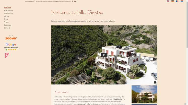 screenshot Villa Dianthe website