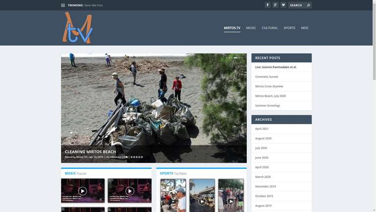 screenshot Mirtos TV website