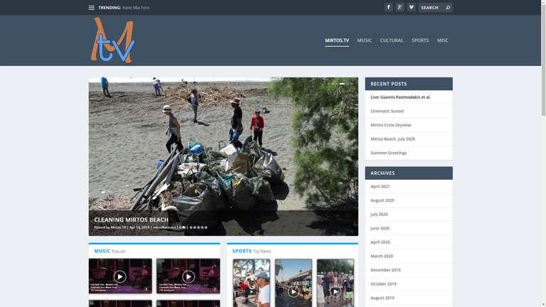 screenshot Mirtos TV website