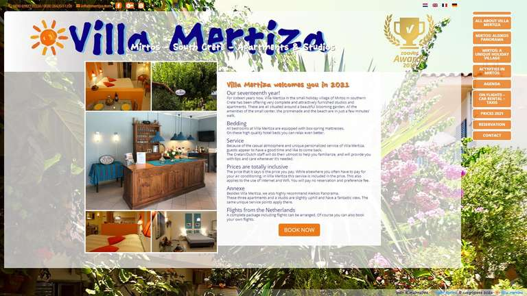 screenshot Mertiza website