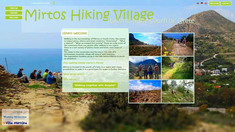 screenshot Mirtos Hiking Village website
